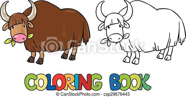 Coloring book of funny wild yak - csp29676443