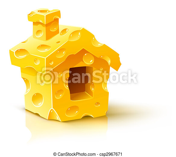 creative concept - small house made of yellow porous cheese - csp2967671