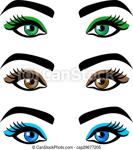 Vector Clipart of Collection female eyes and eyebrows of ...