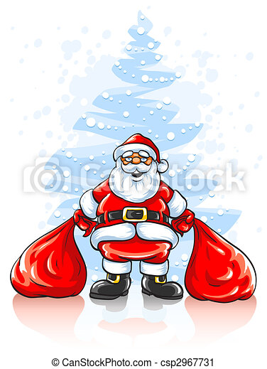 Santa Claus with two sacks of Christmas gifts - csp2967731