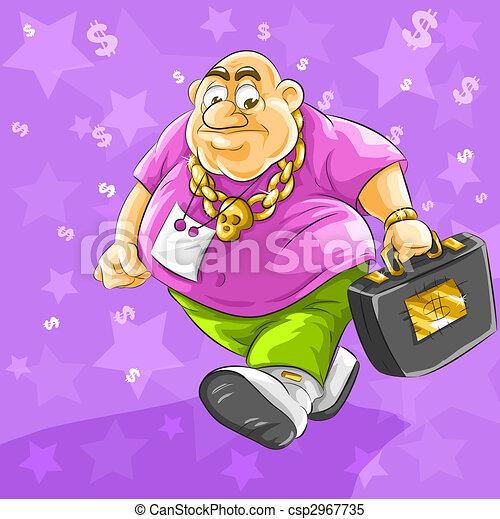 rich fat businessman with full suitcase of dollars money - csp2967735