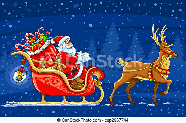 Christmas Santa Claus moving on the sledge with reindeer and gifts - vector illustration - csp2967744