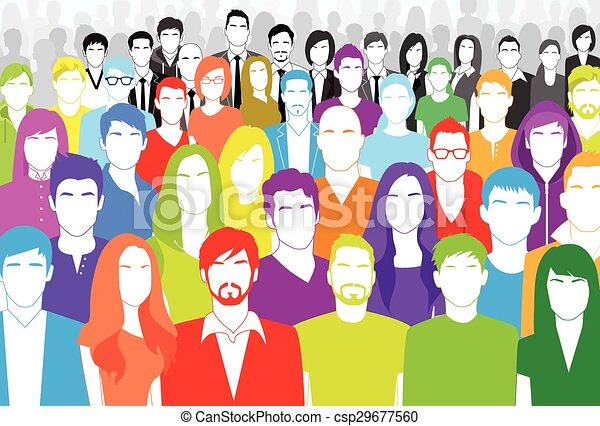 Clipart Vector of Group of Casual People Face Big Crowd Diverse ...