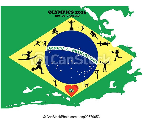 Clipart Vector of Summer Olympic Games two thousand sixteenth year ...