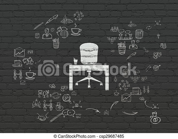 Finance concept: Office on wall background - csp29687485