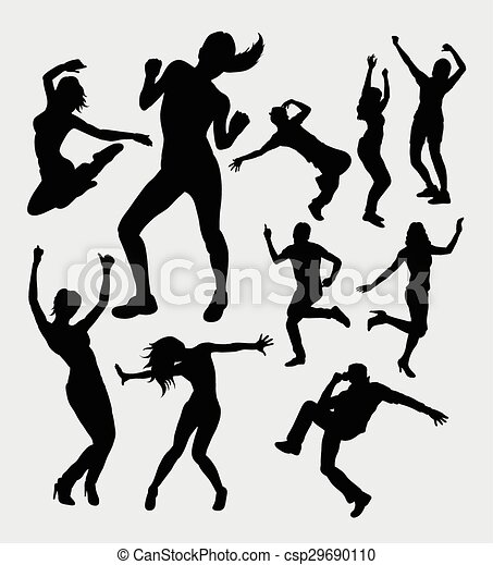 Vector Clip Art of Male and female dancing silhouettes - Man and ...