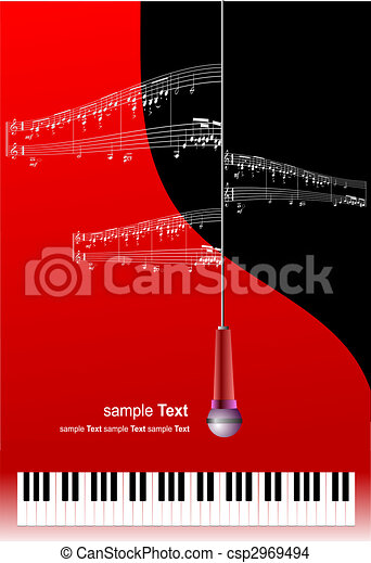 Piano with microphone and printing music with place for text - csp2969494