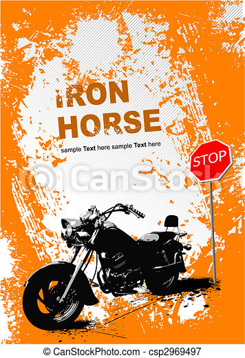 Orange gray background with motorcycle image. Vector illustration - csp2969497