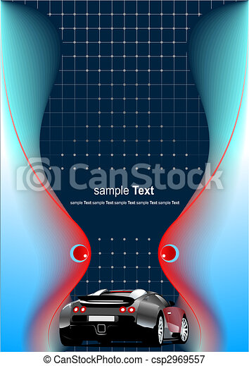 Abstract futuristic background with car image. Vector illustration - csp2969557