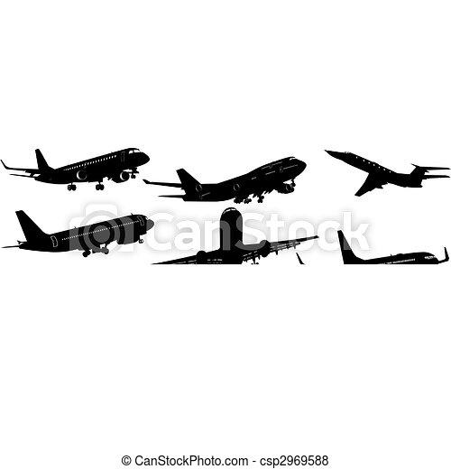 vecteur de avion noir blanc silhouettes vecteur illustration csp2969588 recherchez des. Black Bedroom Furniture Sets. Home Design Ideas