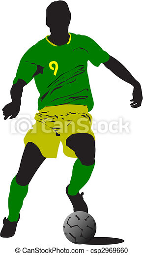 Soccer players. Colored Vector illustration for designers  - csp2969660