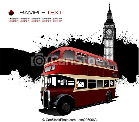 Grunge blot banner with London images. Vector illustration - csp2969663