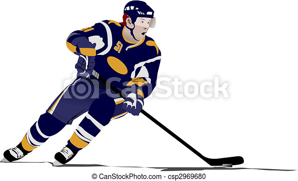 Ice hockey players. Colored Vector illustration for designers - csp2969680