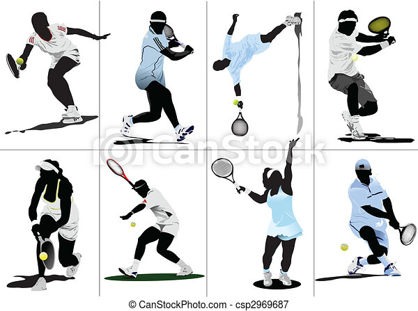 Tennis player. Colored Vector illustration for designers - csp2969687
