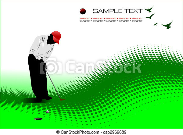 Golfer hitting ball with iron club. Colored vector illustration - csp2969689