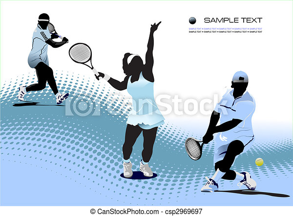 Tennis player. Colored Vector illustration for designers - csp2969697