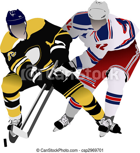 Ice hockey players. Colored Vector illustration for designers - csp2969701