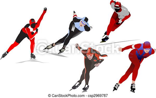 Speed skating. Vector illustration - csp2969787