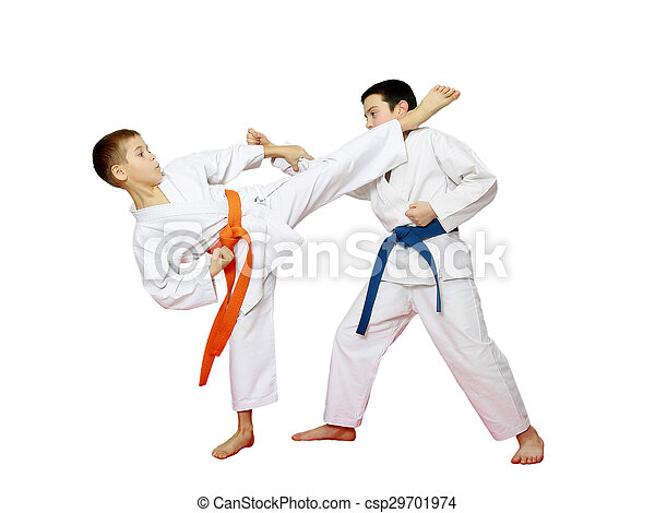 Two athletes are doing blows