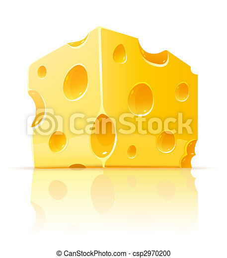 piece of yellow porous cheese food with holes - csp2970200
