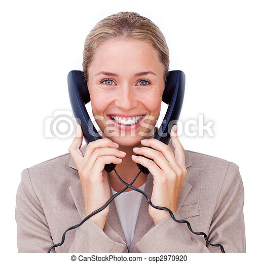 Radiant businesswoman tangled up in phone wires - csp2970920