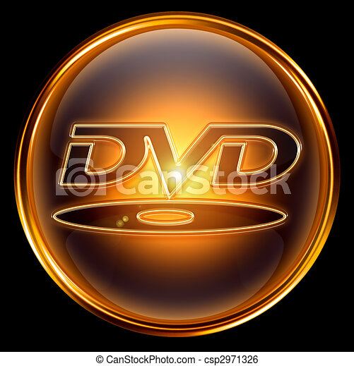 Stock Illustration of DVD icon gold, isolated on black background ...