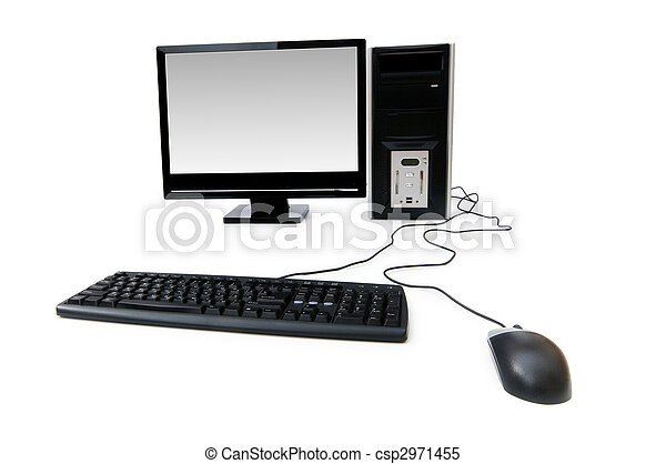 Computer with flat screen isolated on white - csp2971455