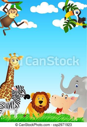 Funny animal cartoon - csp2971923