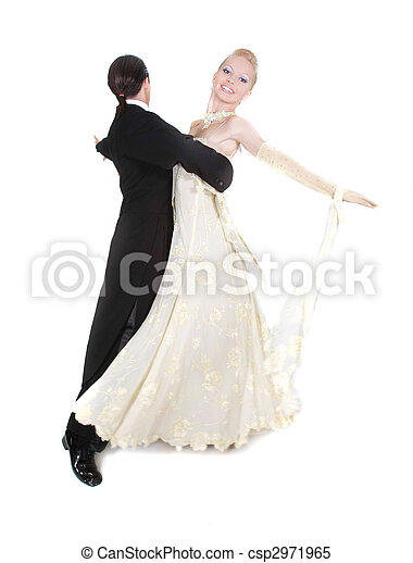 beautiful couple dancing over white - csp2971965