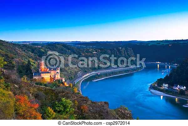 Middle Rhine Valley with Burg Katz and the Loreley, Germany. Unesco World Heritage Site. - csp2972014