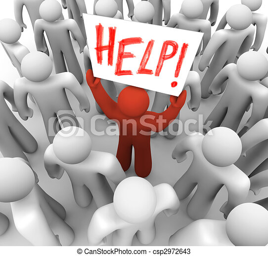 Person Holding Help Sign in Crowd - csp2972643