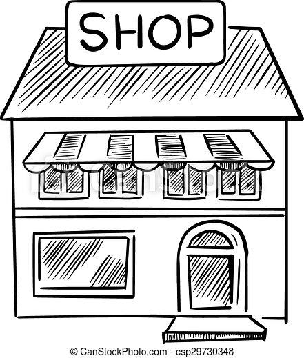 Tafel clipart schwarz weiß  EPS Vektor von laden, skizze, tafel, kaufmannsladen - Facade, von ...