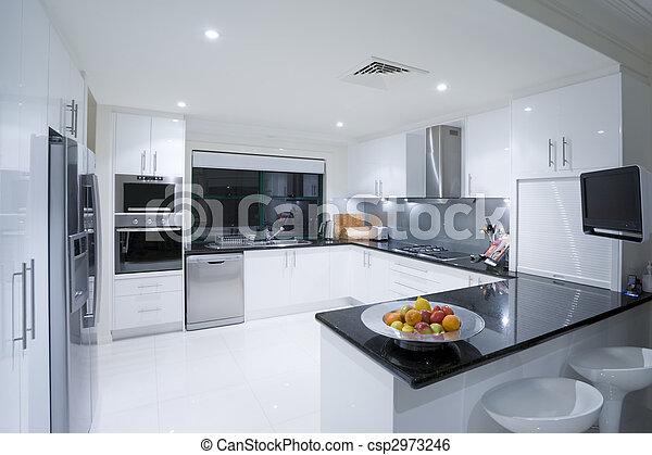 Modern kitchen in luxury mansion - csp2973246