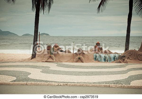Beach sculptures Copacabana Rio De Janeiro Brazil - csp2973519