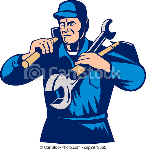 tradesman handyman worker carrying tools - csp2973565