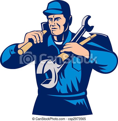tradesman handyman worker carrying tools - csp2973565
