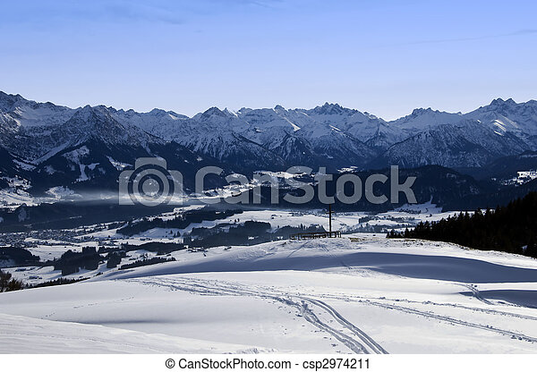 allgaeu mountains in winter with oberstdorf and the bavarian alps - csp2974211