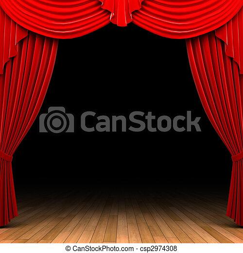 Red velvet curtain opening scene  - csp2974308