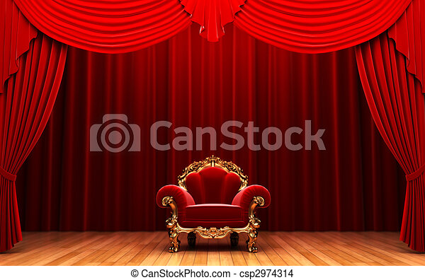 Red velvet curtain and chair  - csp2974314