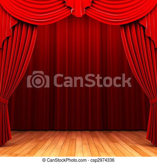 Red velvet curtain opening scene  - csp2974336