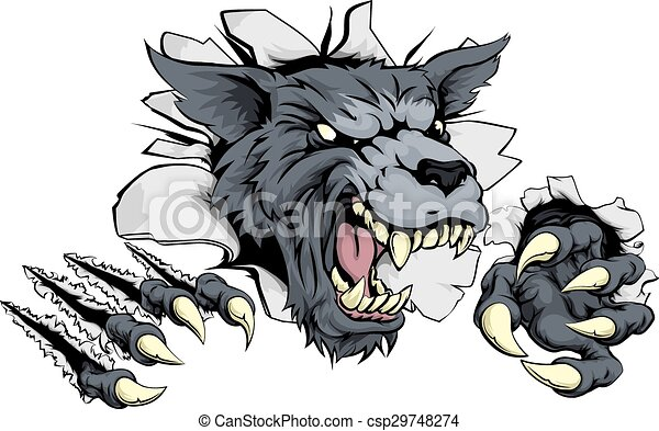 Vector Clipart of Werewolf or wolf clawing through - A tough wolf ...