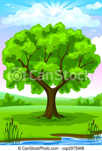 Stock Illustration of Summer landscape with old tree and ...