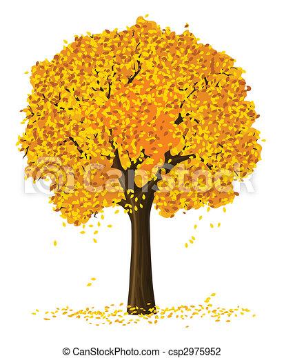 Clip Art of silhouette of autumn season yellow tree ...
