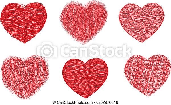 Scribble hearts - csp2976016