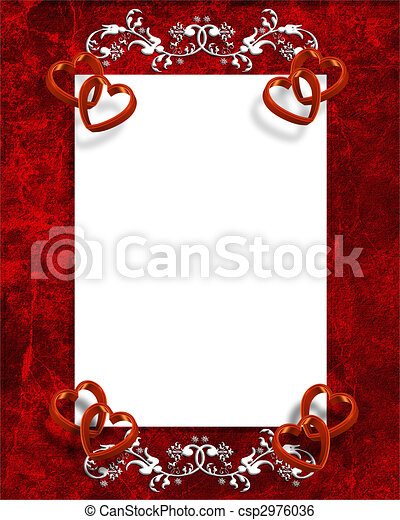 Valentines Day Border Red Hearts  - csp2976036