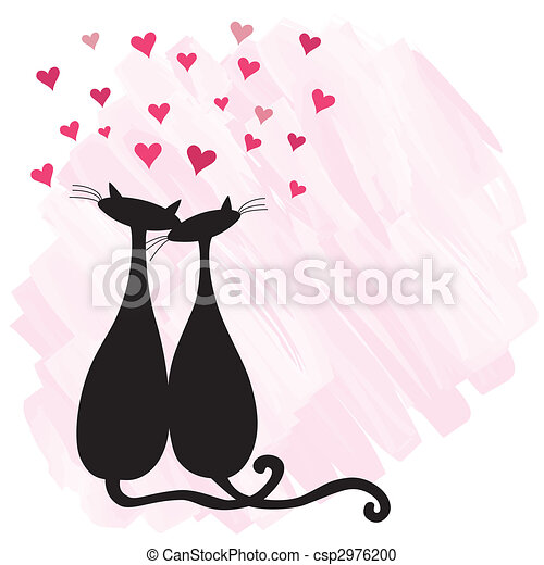 Cat Love Drawing Cats in Love Csp2976200