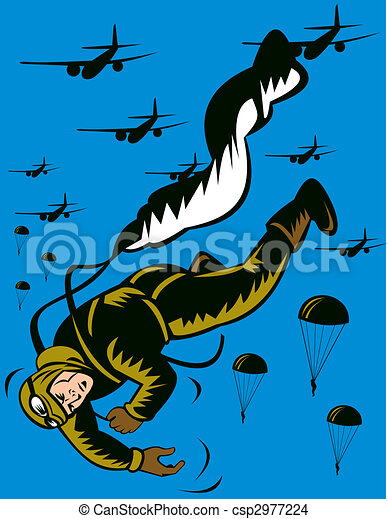 World war two soldier parachuting pulling cord - csp2977224