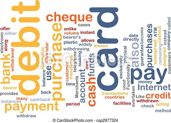 debit card word cloud - csp2977324