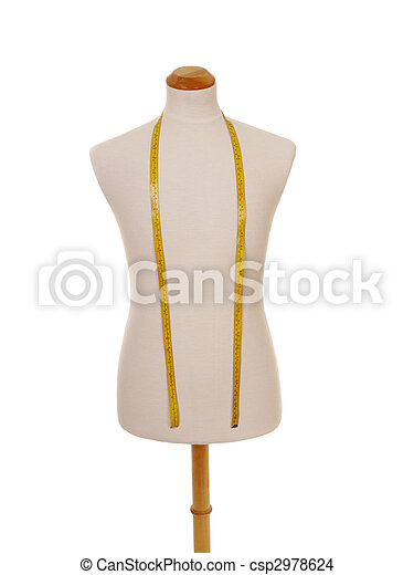 male torso mannequin with tape measure - csp2978624