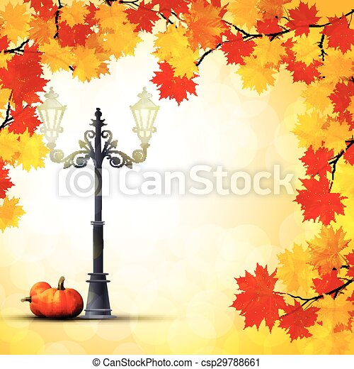 Autumn in the park with a pumpkins  - csp29788661